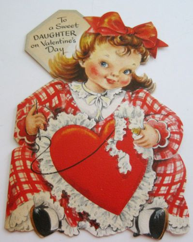 Used Vintage Valentines Card Hallmark Old Fashioned Girl Sewing