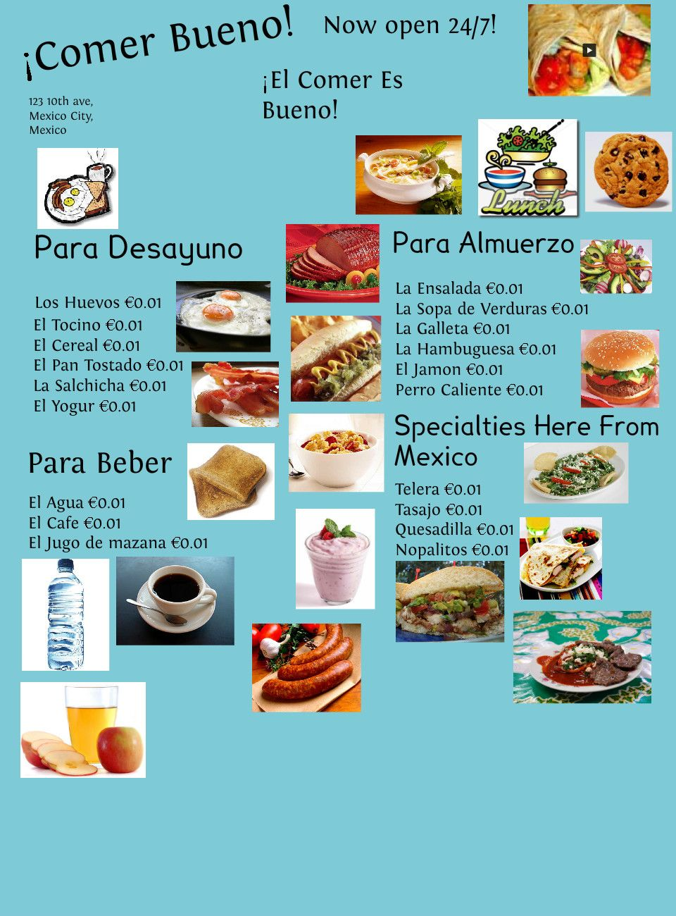 Spanish Menu Project Spanish food unit