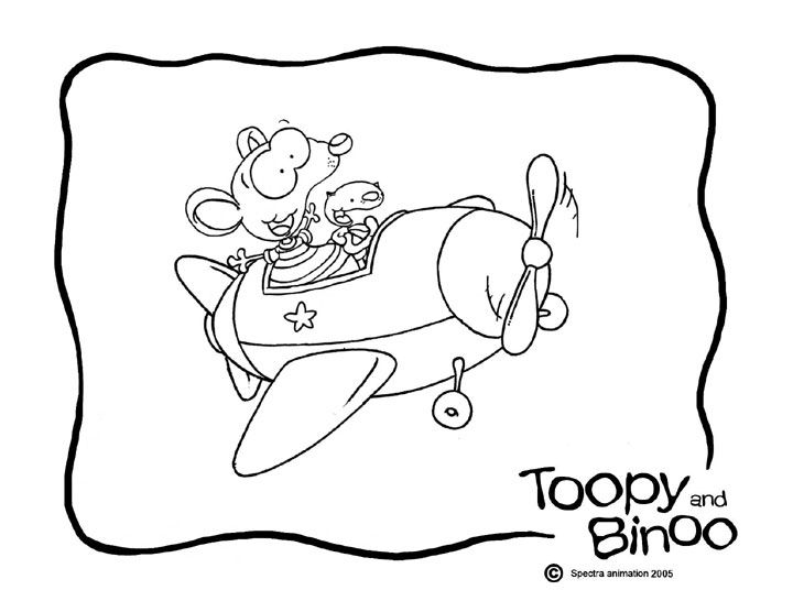 Toopy Binoo On Blue Icing With Big Cloud For Writing Coloring