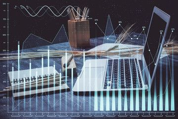 Forex market chart hologram and personal computer background Multi exposure Concept of investment