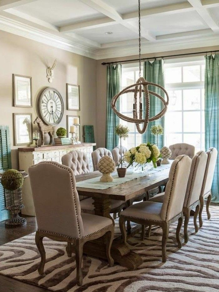 Modern Dining Room Of Carpet Rustic Table Fresh Curtains