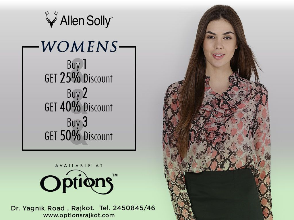 0d19208cc2a Allen Solly Women s Western Wear   Accessories available at Options. Buy 1    Get 25% Discount. Buy 2   Get 40% Discount. Buy 3   Get 50% Discount.