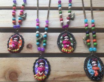 Turquesa collar de fibra de Frida Kahlo collar étnico por Gilgulim