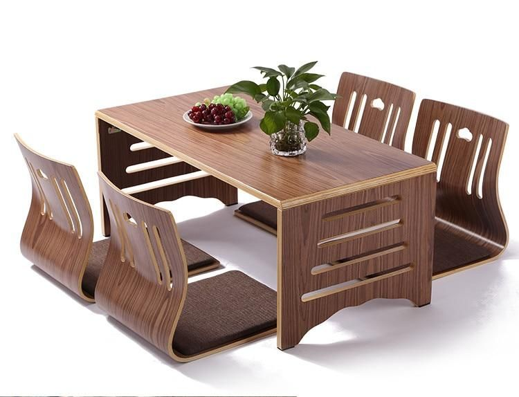 5pcs Set Modern Japanese Style Dining Table And Chair Asian Floor