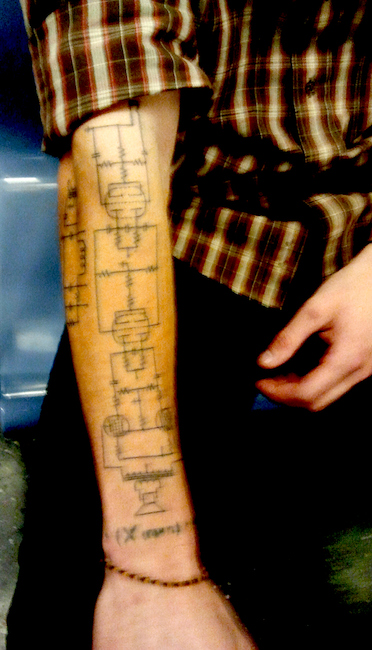 tattoo of schematic brings geek chic to new level ink tattoos Diagram of Massage