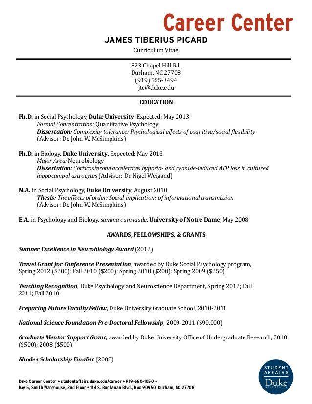 Student Affairs Resume Career Center James Tiberius Picard Curriculum Vitae 823 Chapel