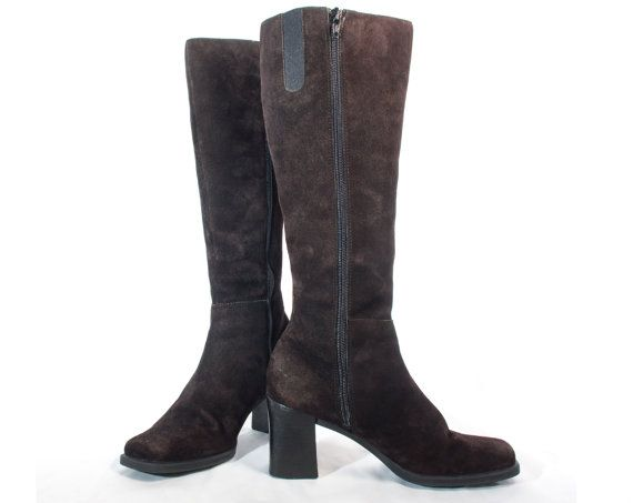 d2fb73c1d6d VTG 90 s Dark Chocolate Brown Suede Knee High Boots size 7 Womens Chunky  Zip Up High Heel Square Toes Leather Tall Boots Vintage Boots