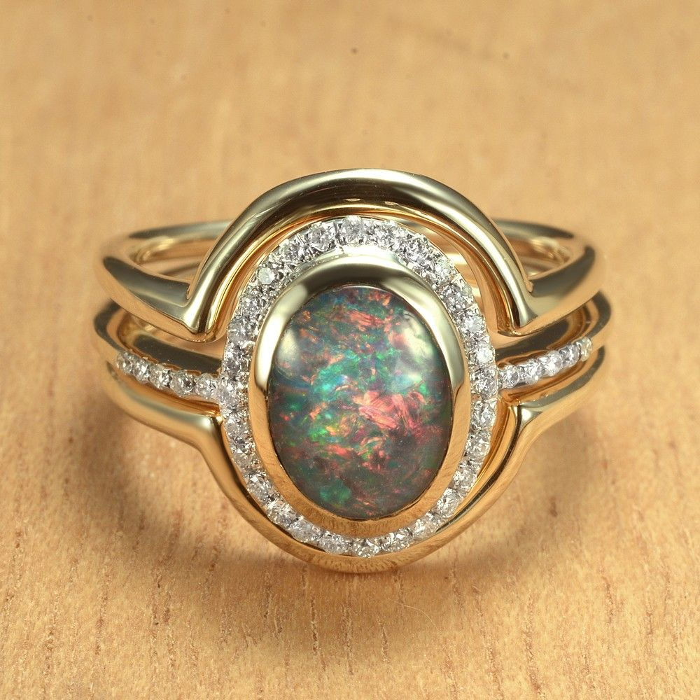 Opal & Diamond Engagement & Wedding Rings 14K Gold by