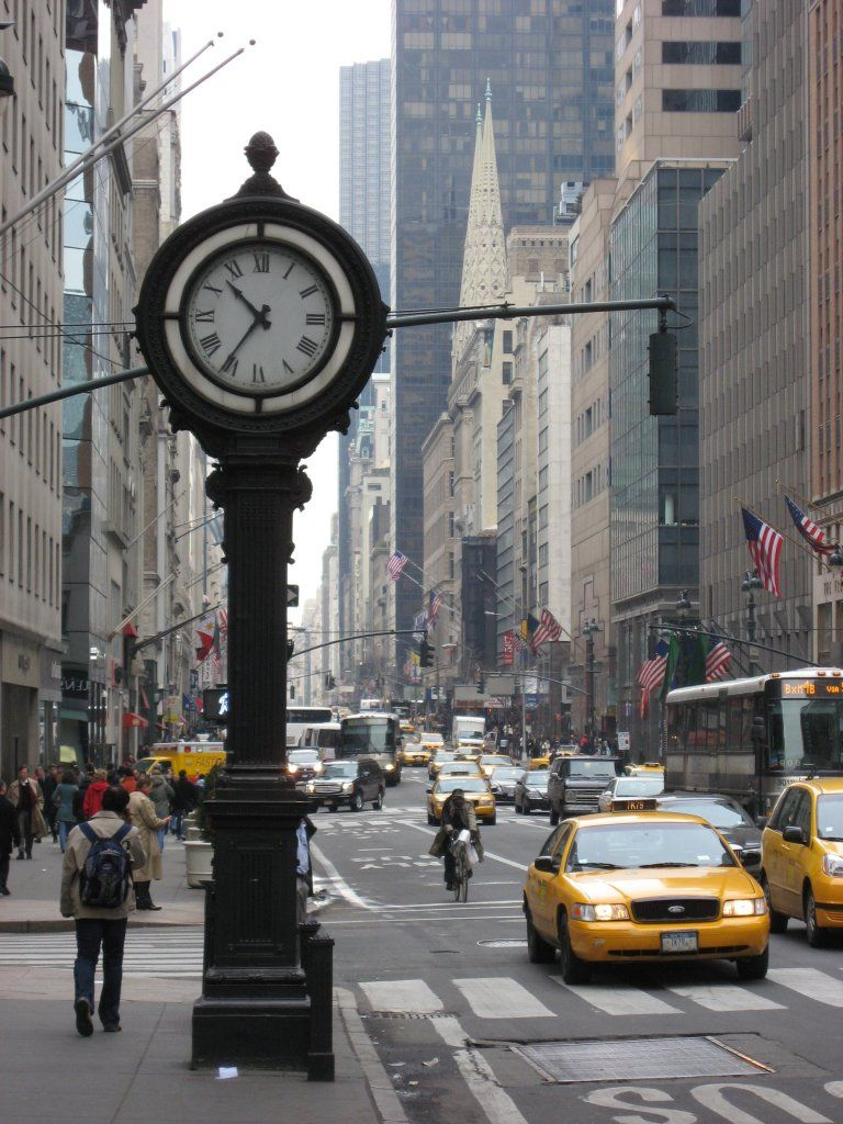 White Wall Clock Large New York's Fifth Avenue Is Best Known As An Unrivaled