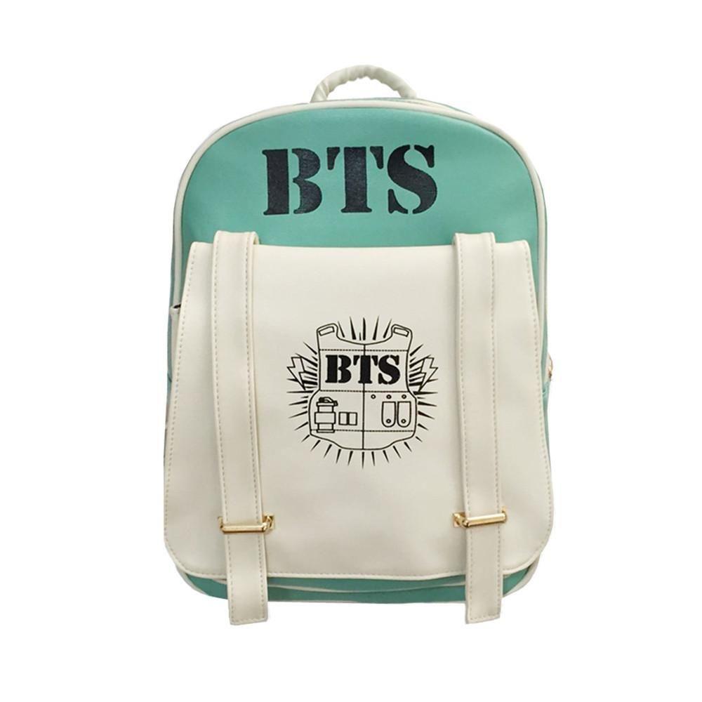 8bf9cf7b55 2018 New Korean KPOP Bangtan BTS PU Backpack Mochila Bag Preppy Style  Student Girls Schoolbag Women