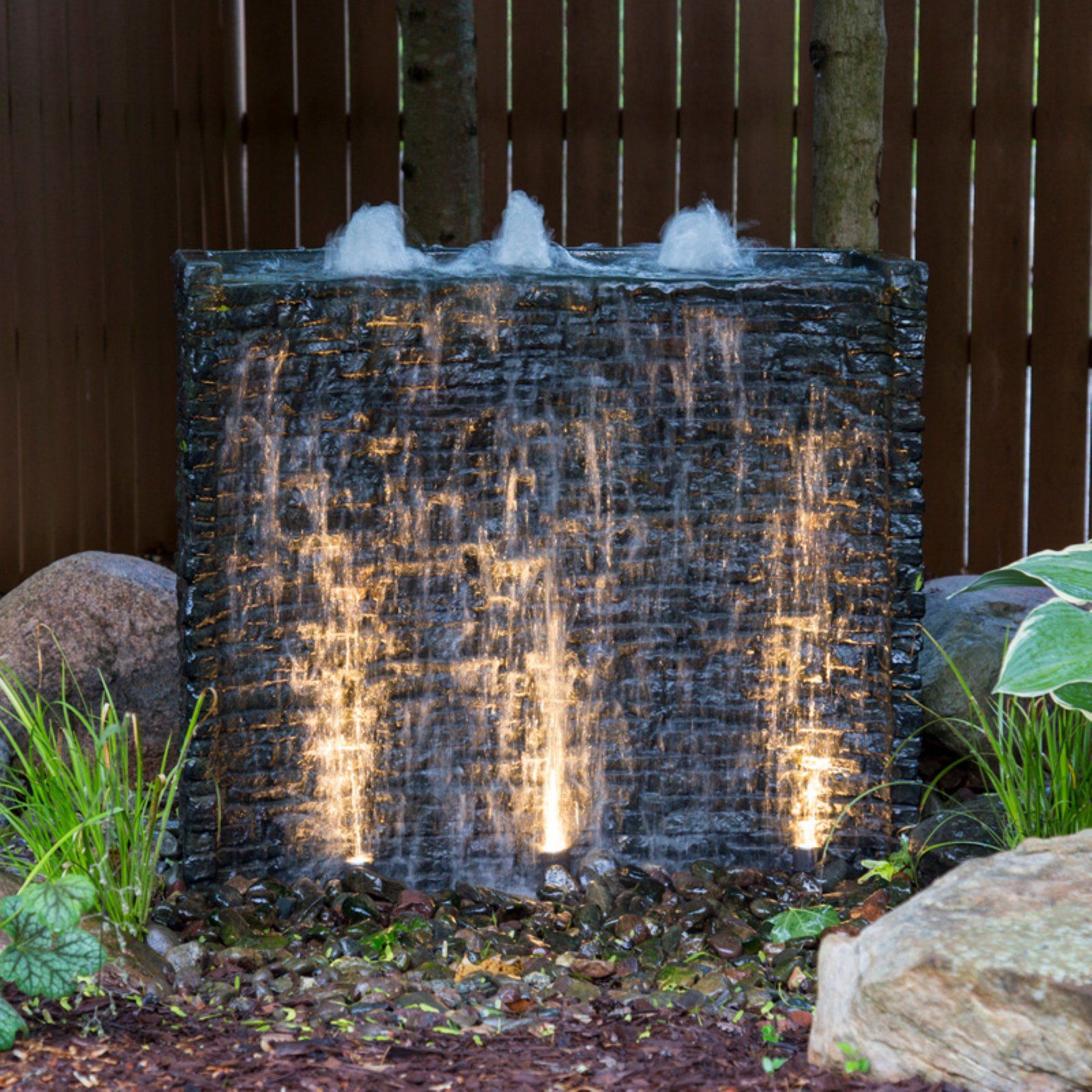 Aquascape stacked slate spillway wall water feature
