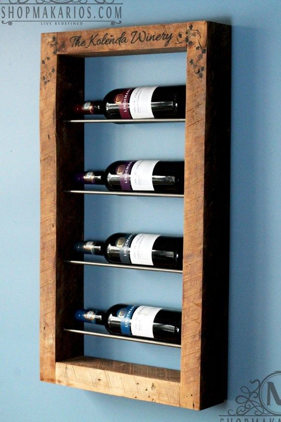 Wine Rack Wall Rustic Wood By Makariosdecor