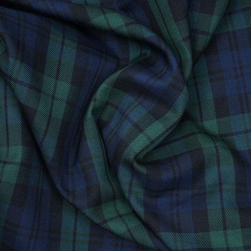 tissu à carreaux vert pour pantalon