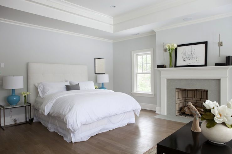 Cozy master suite with blue gray paint color with bedroom ...
