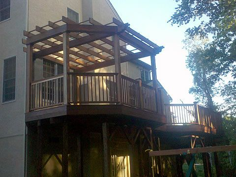 Closed In Decks 2nd Story On Deck Routered Rafters And Beams All Hand Made Stone