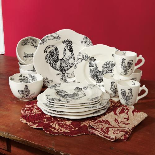 GAFunkyFarmhouse Wish List Wednesdays Rooster Toile Dinnerware & I have never really liked toile  and I have had to endure more ...