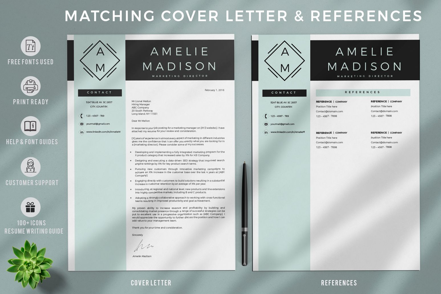 Creative Resume Templates For Ms Word And Mac Pages Professional Resume Templates And Matching C Reference Page For Resume Cover Letter Format Resume Template