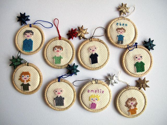 Cross-stitched family ornaments