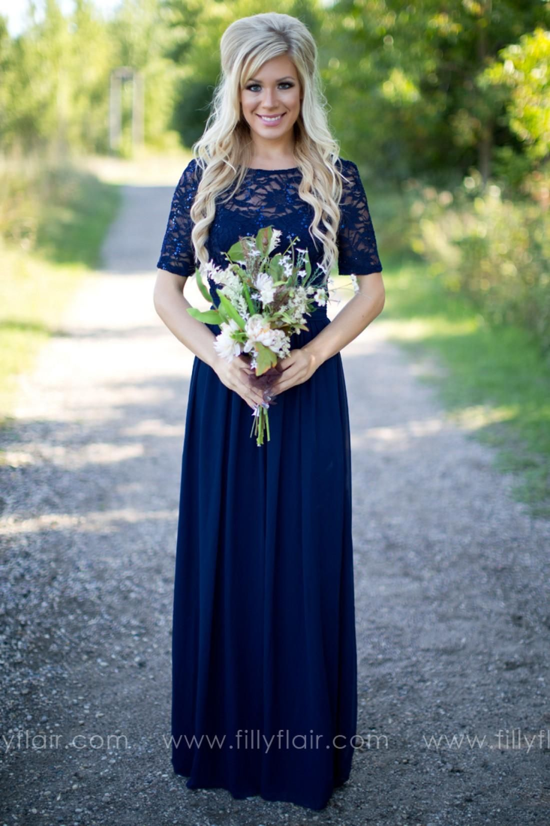 2016 Country Style Navy Blue Bridesmaid Dresses Sheer Crew Neck Lace Top Short  Sleeves Chiffon Backless Long Maid of the Honor Dresses 93cf9214de2c
