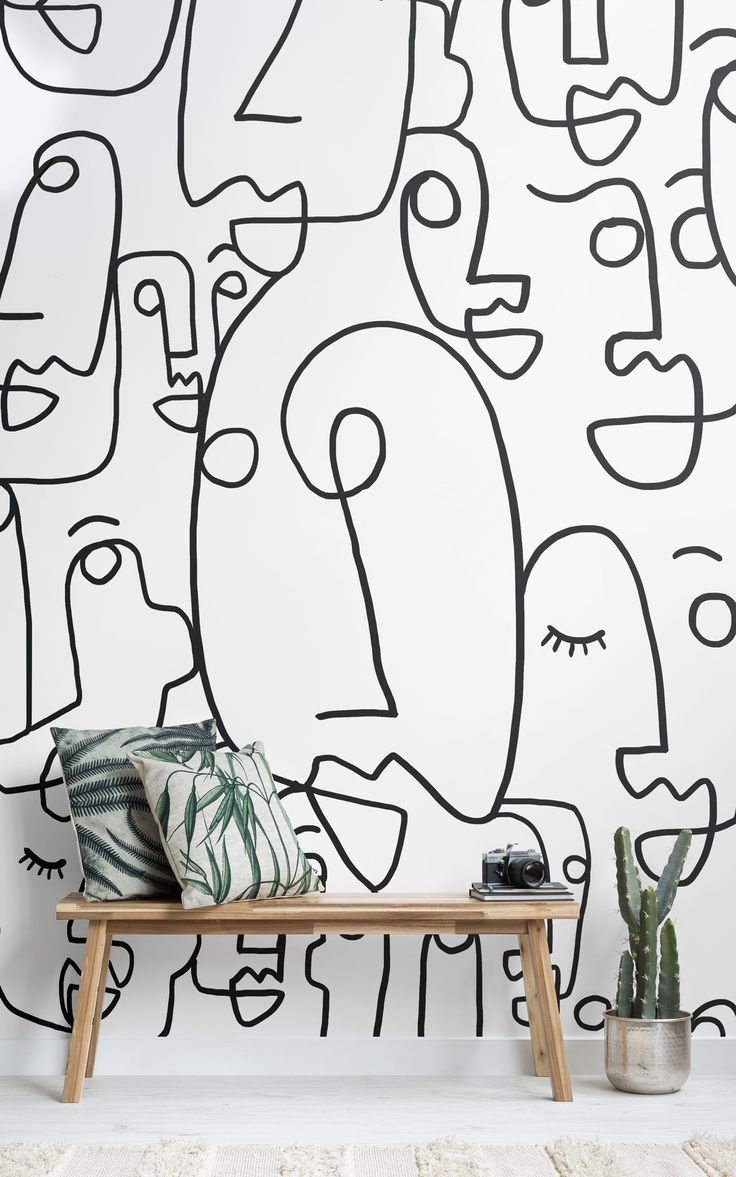 Large Face Line Drawing Wallpaper Mural