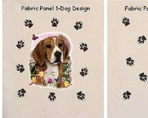 Beagle Fabric Dog Breed Fabric Quilt Square Quilt Fabric Paw Print