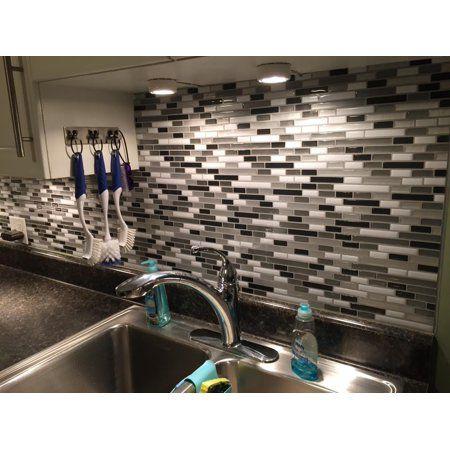 Art3d 10 Pieces Peel And Stick Vinyl Sticker Kitchen Backsplash Tiles 12 X 12 Gray White Design Walmart Com Backsplash Kitchen Backsplash Kitchen Tiles Backsplash