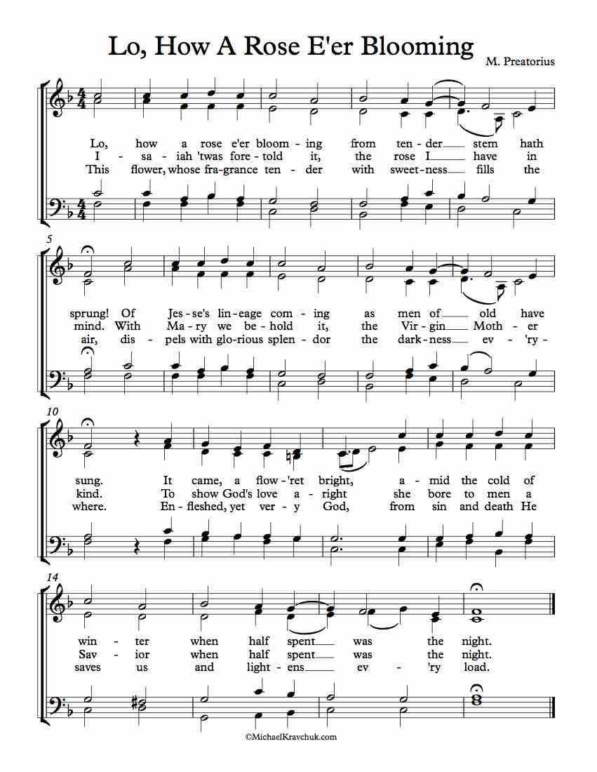 Free Choir Sheet Music Lo How A Rose Eer Blooming Free Sheet