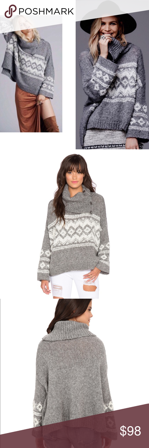 263af41b5 Free People Grey Fair Isle Split Neck Sweater in 2018