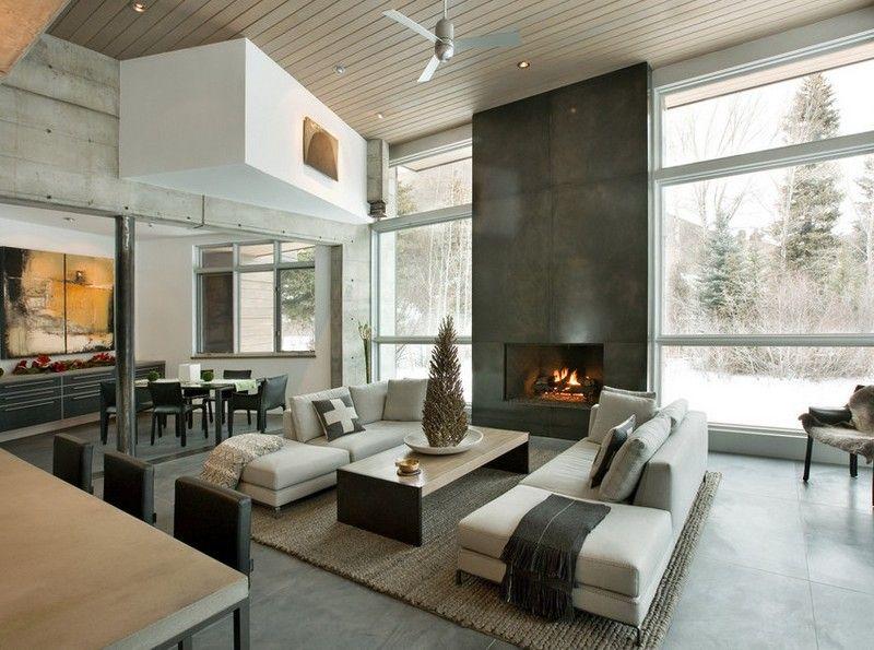 sitzecke im kaminzimmer gestalten - moderner landhausstil | w, Mobel ideea