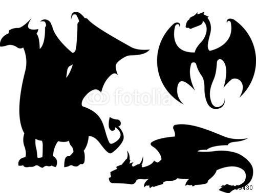 Vector: Dragon Silhouettes | Skull | Pinterest | Dragon ...