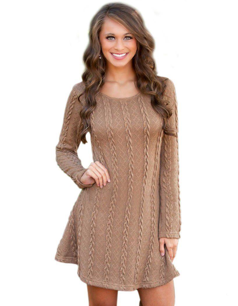 797d1fba249f Bluetime Women s Crewneck Knit Sweater Mini Skater Dress Casual Loose Tops  (S
