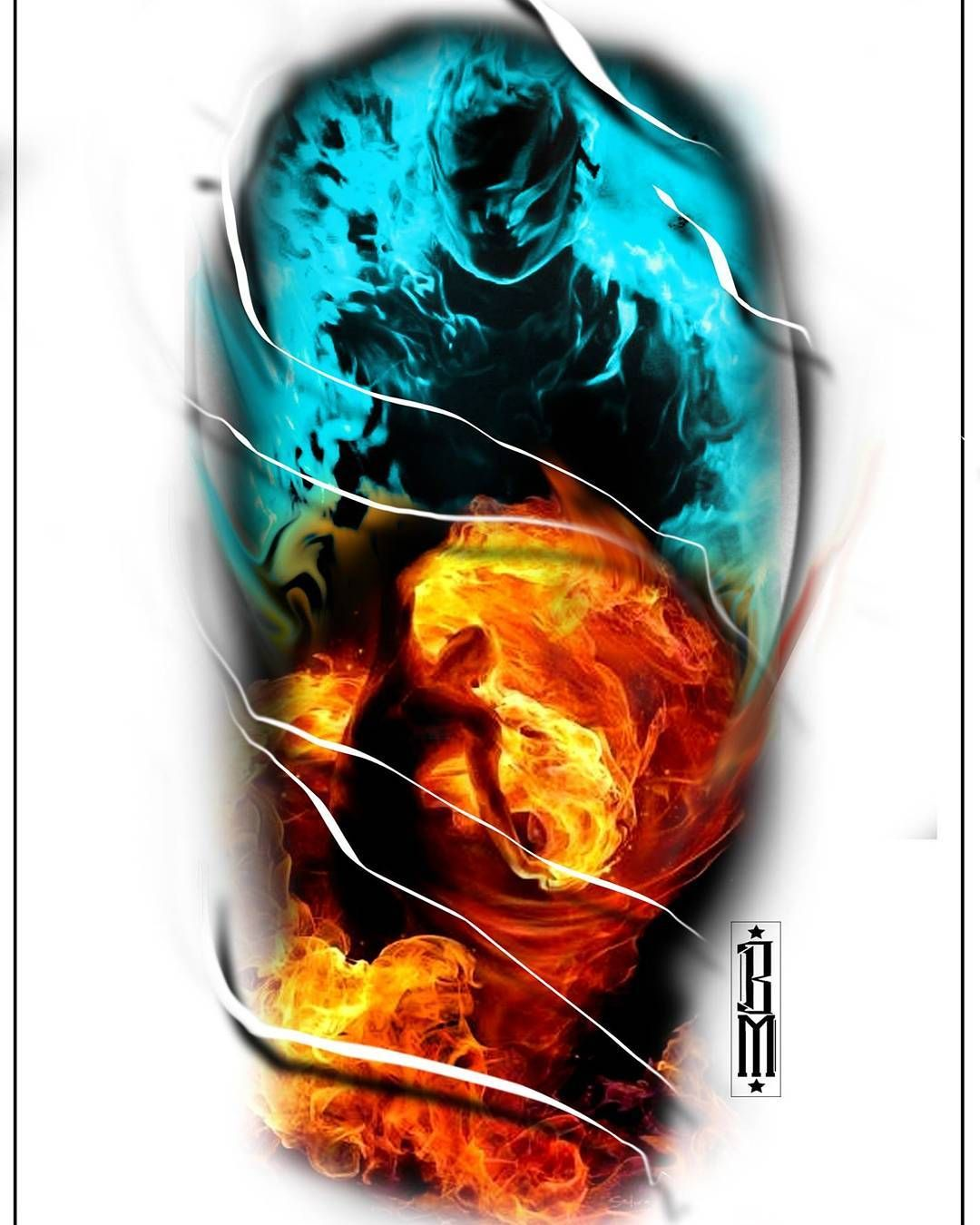 Tattoo background shading ideas color tattoo fire ice calf design colour  tattoos  realismo