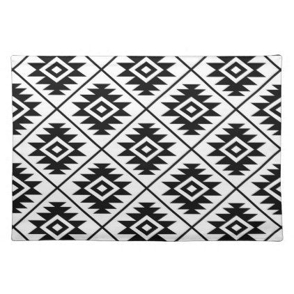 Aztec Symbol Stylized Big Ptn Black on White Cloth ...