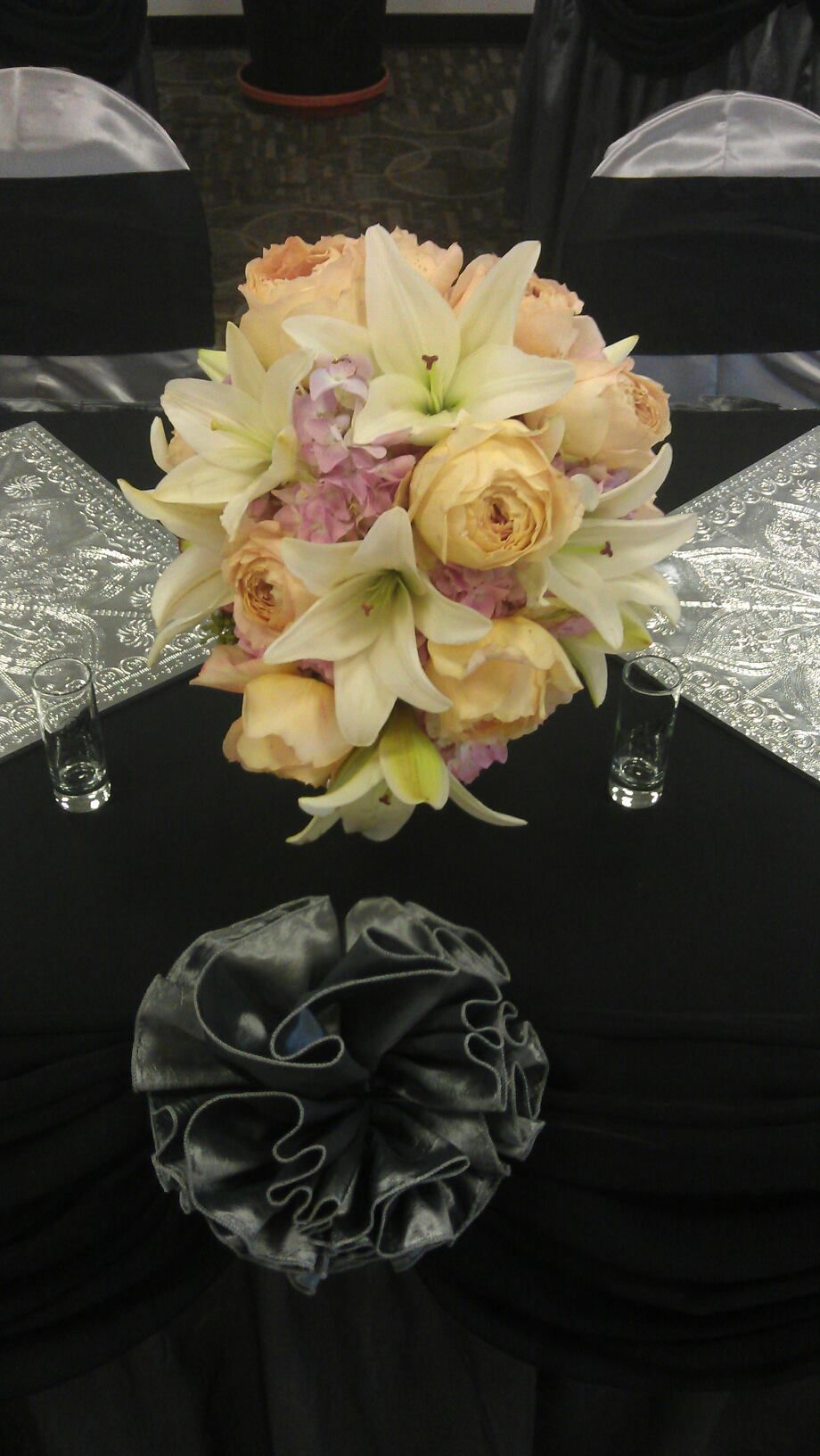 Our 2 cool flowers cascading bouquet with garden roses lilies and our 2 cool flowers cascading bouquet with garden roses lilies and pink hydrangea izmirmasajfo Gallery