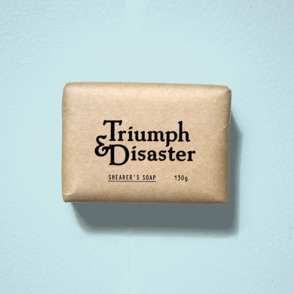 hidesign—typography:  (Triumph & Disaster — Shearers soap - Men's grooming products | Men's skincareから)