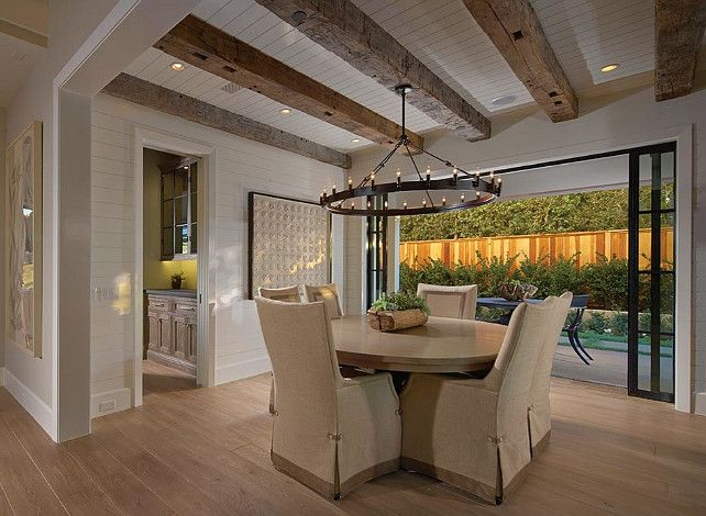 Awesome Exposed Beams And Restoration Hardware Chandelier In This Rustic  Chic Dining Room