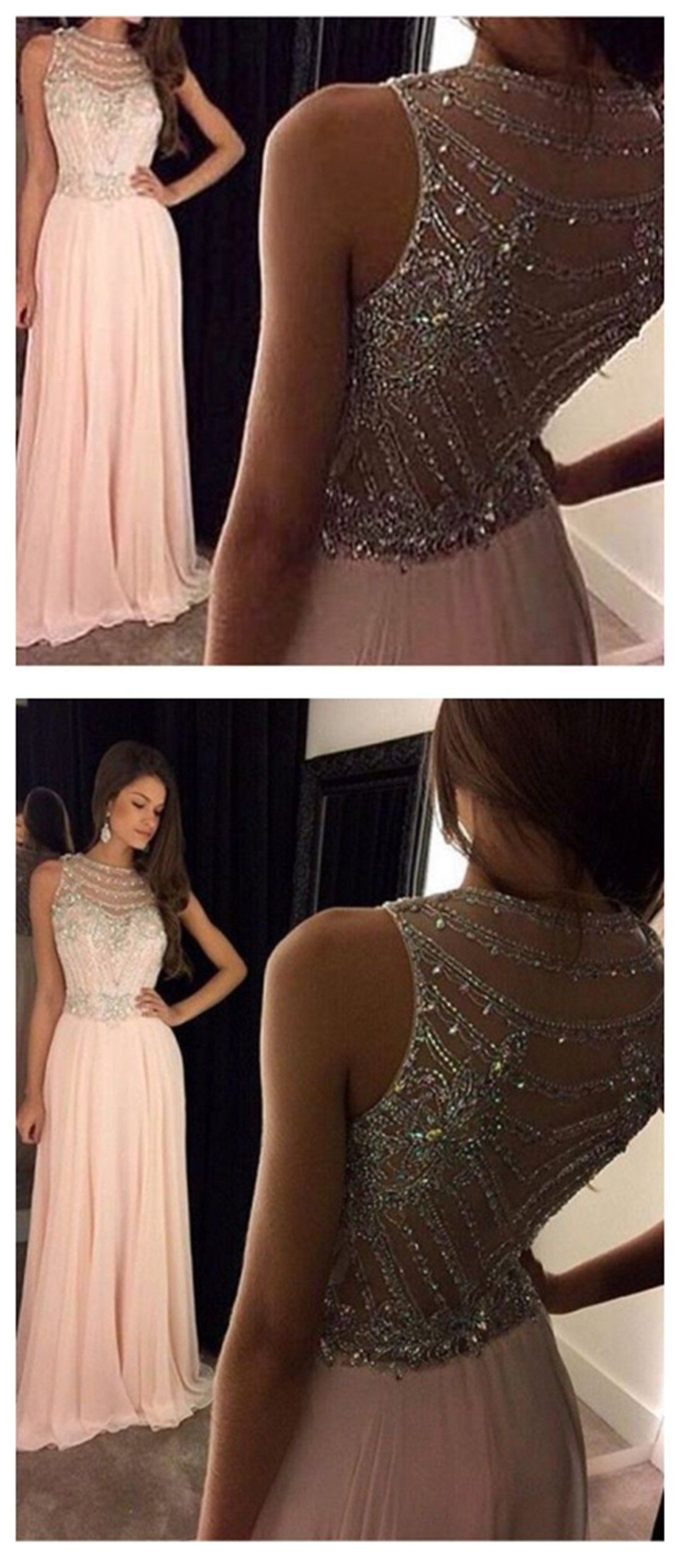 ca1a16679f Sparkly Heavily Beaded Unique Bateau A-line Long Evening Prom ...