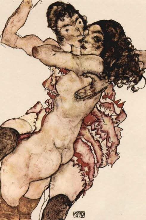 """""""Un bacio è il desiderio ardente di respirare il più a lungo con l'essere amato e, quasi a trasfondervi il proprio desiderio."""" Giacomo Casanova.  Egon Schiele, """"Frauenpaar - Sich umarmende Frauen"""", 1915"""