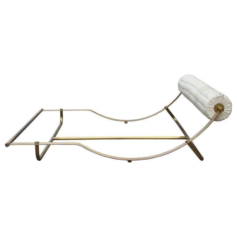 Modern Italian Brass Bed with White Leather Headboard