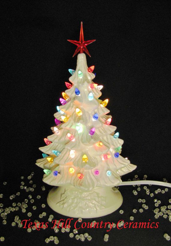White Ceramic Christmas Tree 16 Inch Tall Tabletop Christmas is