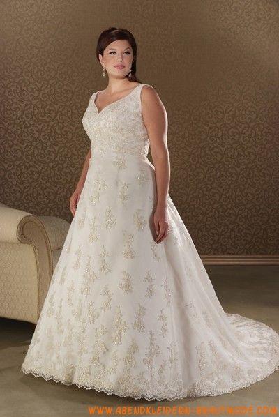 Schöne klassische Große Brautkleider aus Satin mit Kapelleschleppe ...