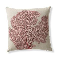Set of Two Red Fan Coral Throw Pillows -- GrandinRoad