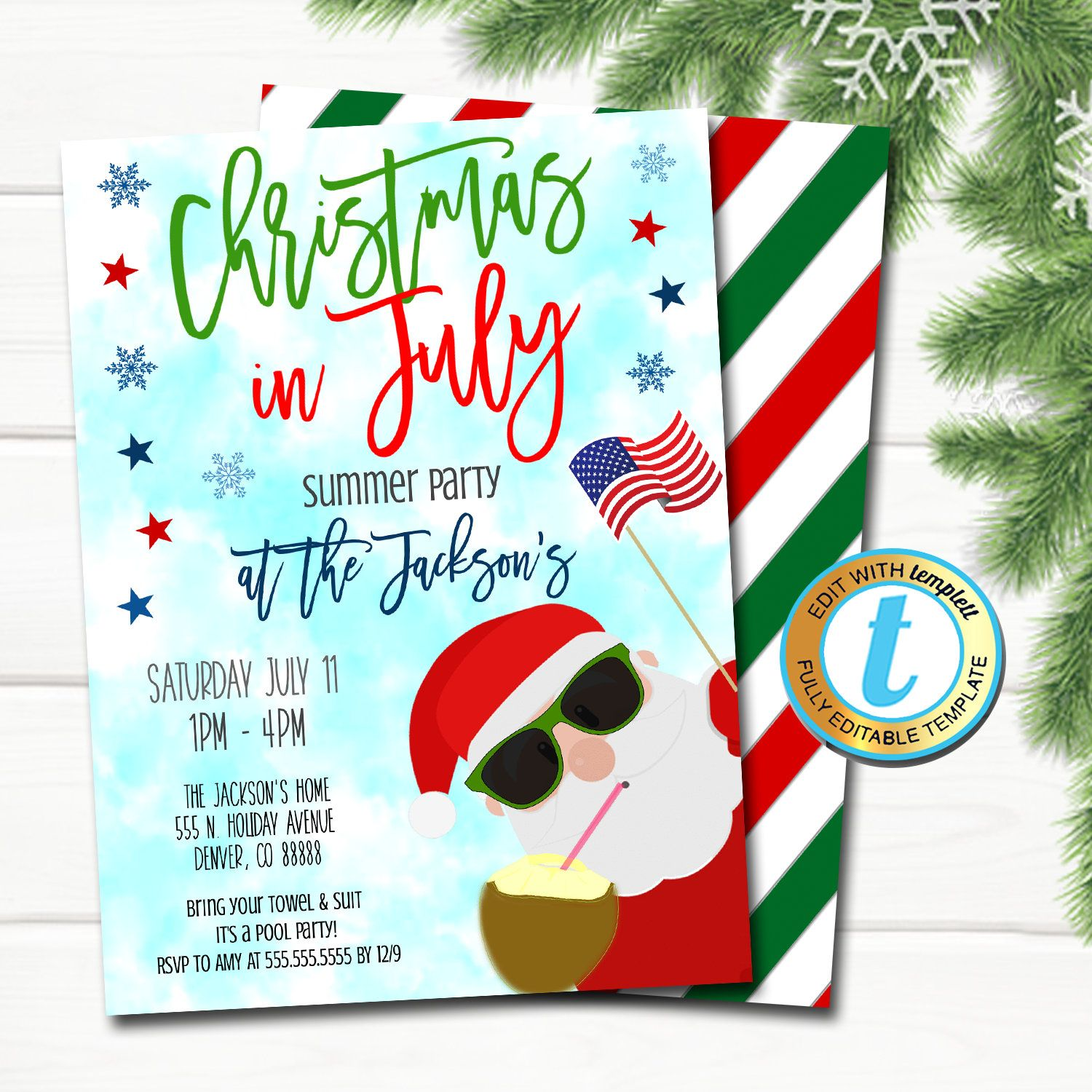 Christmas in July Invitation, Holiday Beach Santa Summer Party, Tropical Christmas in July Pool Luau Beach Invite Editable Template Download #holidaysinjuly