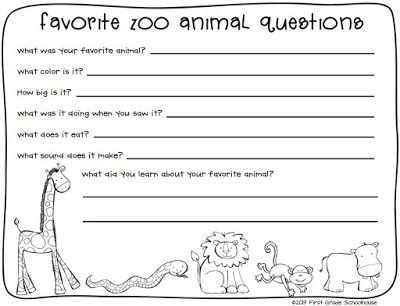 Zoo Animals Writing About A Field Trip To The Zoo  First Grade