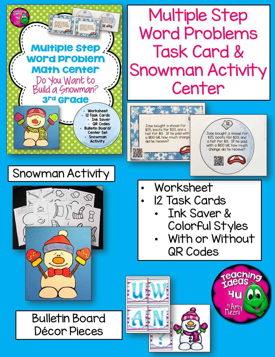 Multiple Step Word Problems Task Card Math Center & Snowman Activity ...