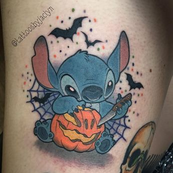 "🦄Jackie Huertas 🌈 on Instagram: ""Halloween stitch for Kara! Thanks so much babe this was so fun to tattoo!! #tattoo #tattoos #disney #disneytatts #inkeddisney #disneytattoo…"""