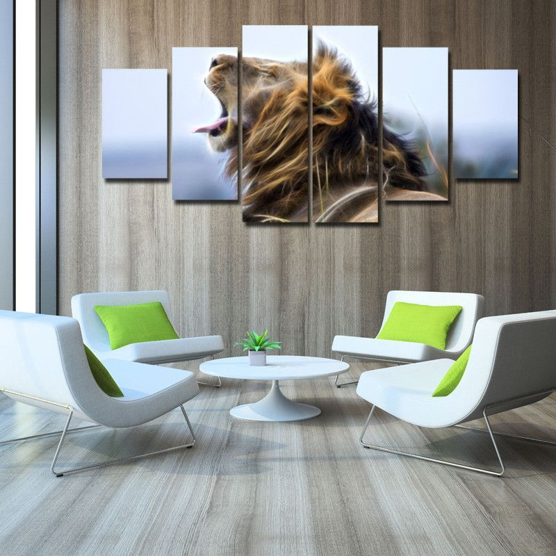 6 Panels Set Group Painting Lion Animal Pictures Printed Canvas Wall Art Home Decoration