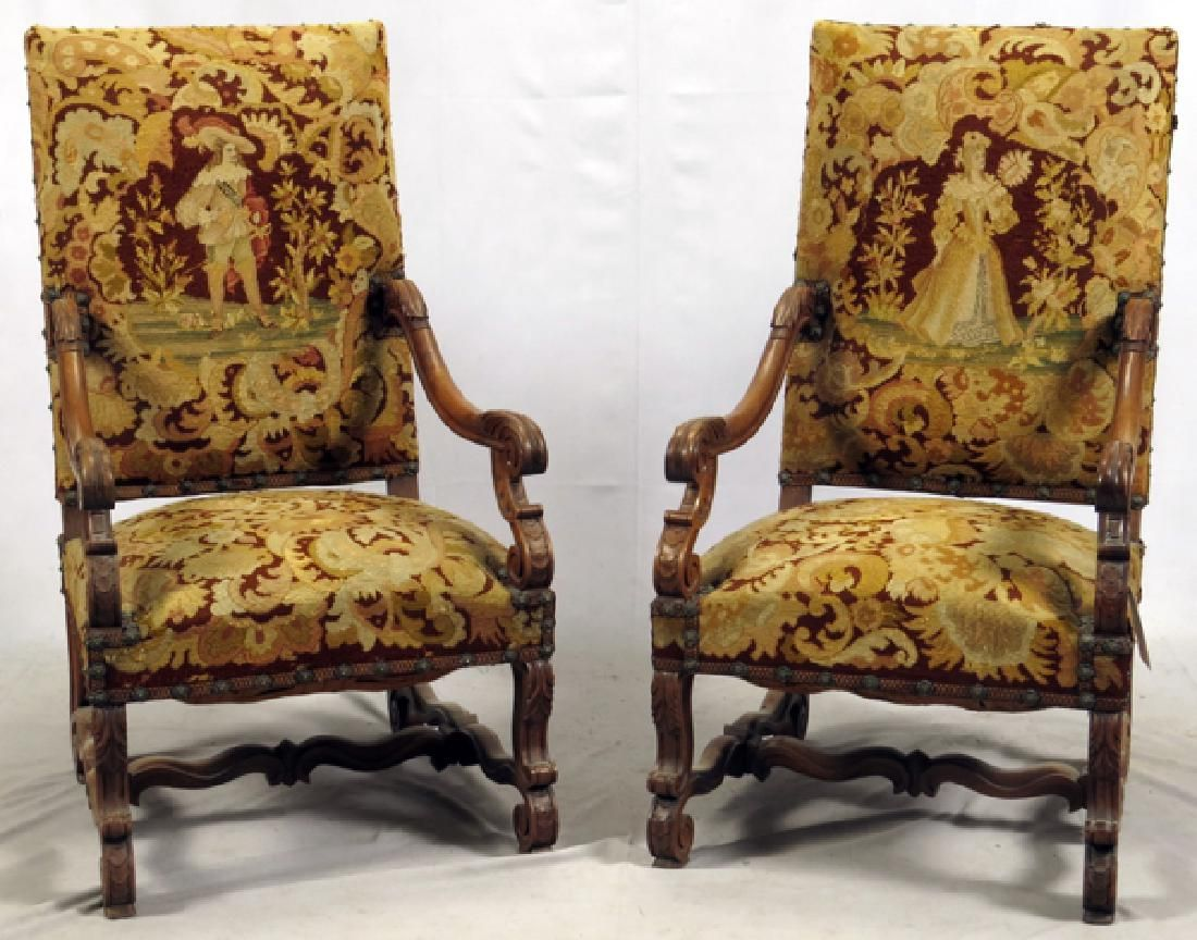 French High Back Walnut Arm Chairs C1860 Pair Lot 60008