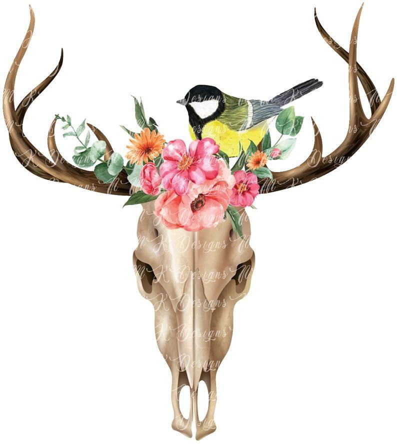 Floral Deer Skull Bundle Sublimation Designs Png Format Etsy Deer Skulls Wild Birds Skull Design