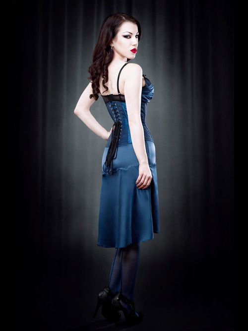 This blue DeVille taffeta steel boned underbust corset from Kiss Me Deadly comes with black lace overlay, modesty panel, back lacing and all the usual stuff for a serious corset.  These are being made to order, so If you want a size we haven't mentioned on our site email us and we'll see what we can do.